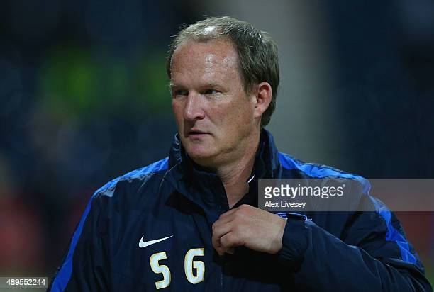Simon Grayson manager of Preston North End looks on prior to the Capital One Cup third round match between Preston North End and AFC Bournemouth at...