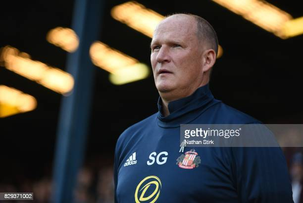 Simon Grayson manager of Sunderland looks on during the Carabao Cup First Round match between Bury and Sunderland at Gigg Lane on August 10 2017 in...
