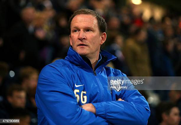 Simon Grayson the manager of Preston North End looks on during the Sky Bet League One match between Preston North End and Sheffield United at...