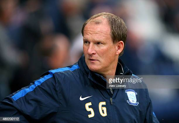 Simon Grayson the manager of Preston North End looks on prior to the Capital One Cup Second Round match between Preston North End and Watford at...