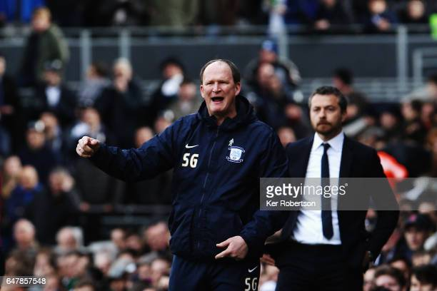 Simon Grayson the Preston North End manager shouts instructions from the touchline during the Sky Bet Championship match between Fulham and Preston...