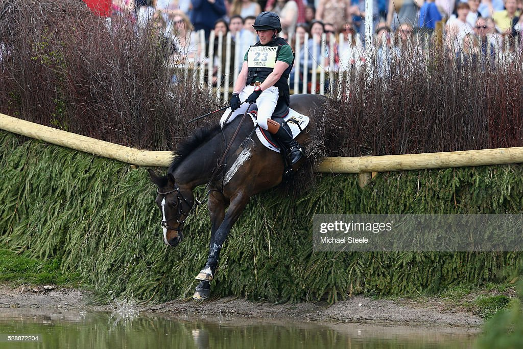 Simon Grieve of Great Britain riding Cornacrew strugges over the water jump fence during the crosscountry test on day four of the Badminton Horse...