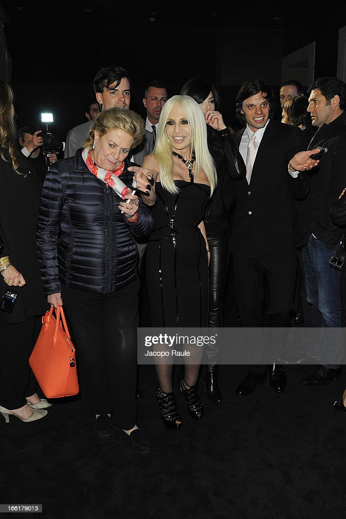 Simon Haas, Donatella Versace, <a gi-track='captionPersonalityLinkClicked' href=/galleries/search?phrase=Ilaria+D%27Amico&family=editorial&specificpeople=2222725 ng-click='$event.stopPropagation()'>Ilaria D'Amico</a> and Nikolai Haas attend The Haas Bothers For Versace Home during 2013 Milan Design Week on April 9, 2013 in Milan, Italy.