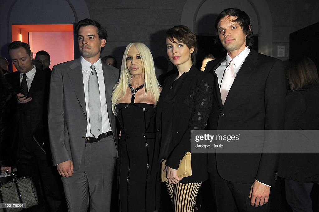 Simon Haas, Donatella Versace, <a gi-track='captionPersonalityLinkClicked' href=/galleries/search?phrase=Violante+Placido&family=editorial&specificpeople=2377404 ng-click='$event.stopPropagation()'>Violante Placido</a> and Nikolai Haas attend The Haas Bothers For Versace Home during 2013 Milan Design Week on April 9, 2013 in Milan, Italy.