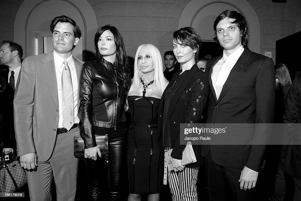 Simon Haas, Ilaria D'Amico, Donatella Versace, Violante Placido and Nikolai Haas attend The Haas Bothers For Versace Home during 2013 Milan Design Week on April 9, 2013 in Milan, Italy.