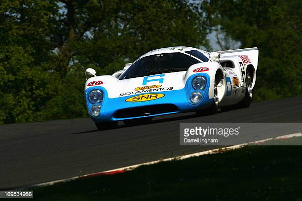 Simon Hadfield drives the Lola T70 Mk3b in the FIA Masters Historic Sports Car Championship race during the Masters Historic Festival at the Brands...