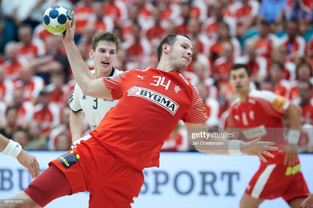 Simon Hald of Denmark in action during the European Championship Croatia 2018 Playoff match between Denmark and Latvia at Sydbank Arena on June 18, 2017 in Kolding, Denmark.