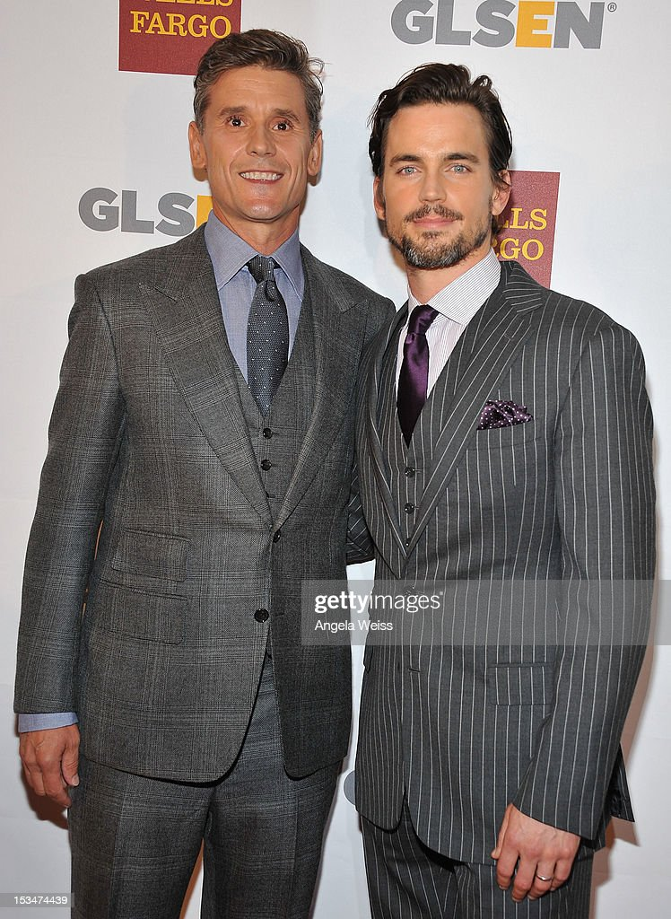 Simon Halls and actor <a gi-track='captionPersonalityLinkClicked' href=/galleries/search?phrase=Matt+Bomer&family=editorial&specificpeople=2960058 ng-click='$event.stopPropagation()'>Matt Bomer</a> arrive at the 8th annual GSLEN Respect Awards at Beverly Hills Hotel on October 5, 2012 in Beverly Hills, California.