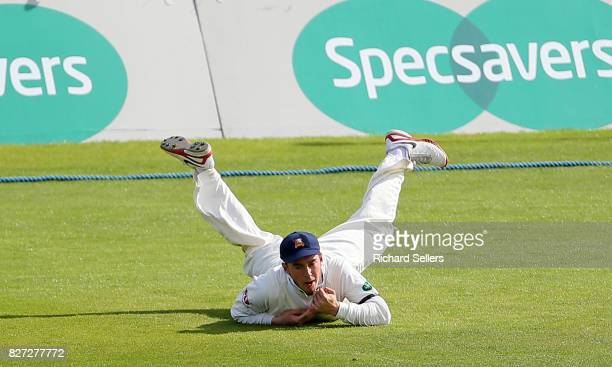 Simon Harmer of Essex catches Ben Coad of Yorkshire during the Specsavers County Championship Division One between Yorkshire and Essex at North...