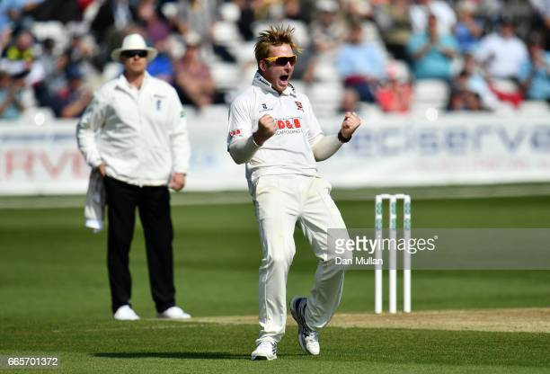 Simon Harmer of Essex celebrates taking the wicket of Steven Croft of Lancashire during day one of the Specsavers County Championship Division One...