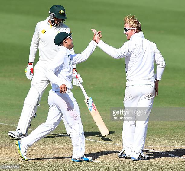 Simon Harmer of South Africa 'A' celebrates the dismissal of Cadd Sayers of Australia 'A' during the match between Australia 'A' and South Africa 'A'...