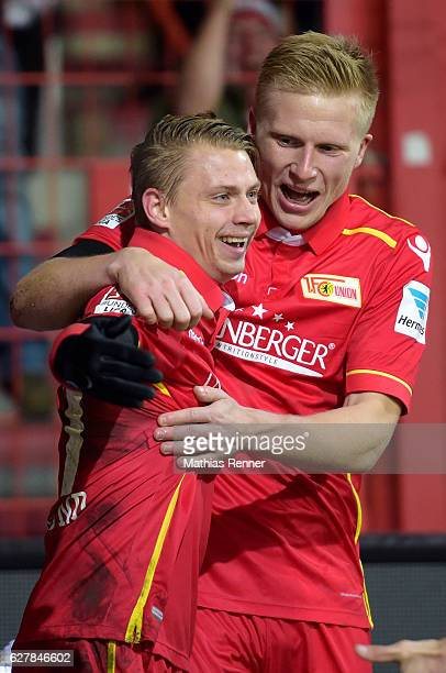 Simon Hedlund and Kristian Pedersen of 1 FC Union Berlin celebrate after scoring the 10 during the game between dem 1 FC Union Berlin and Eintracht...