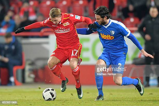 Simon Hedlund of 1 FC Union Berlin and Jan Gyamerah of VFL Bochum during the game between Union Berlin and VFL Bochum on January 27 2016 in Berlin...