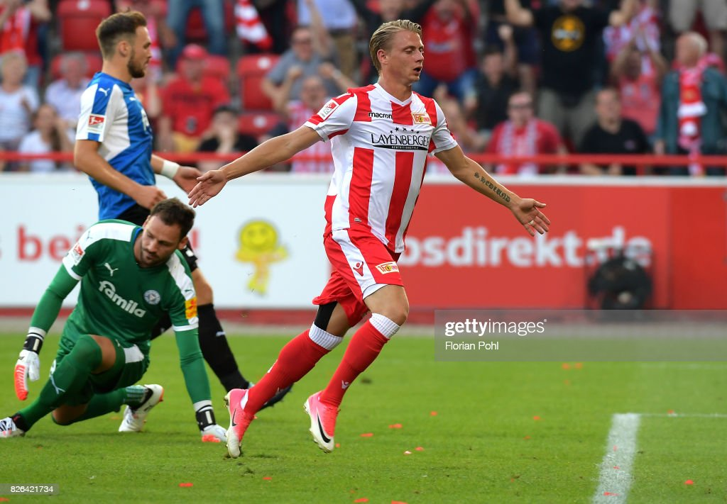 Simon Hedlund of 1 FC Union Berlin celebrates after scoring the 3:2 during the game between Union Berlin and Kieler SV Holstein on august 4, 2017 in Berlin, Germany.