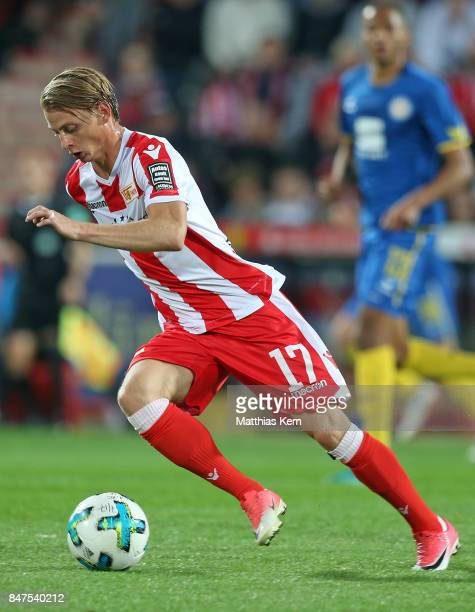 Simon Hedlund of Berlin runs with the ball during the Second Bundesliga match between 1 FC Union Berlin and Eintracht Braunschweig at Stadion An der...