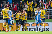 Simon Hedlund of IF Elfsborg celebrates with his teammates after scoring 11 during the Allsvenskan match between IF Elfsborg and IFK Goteborg at...