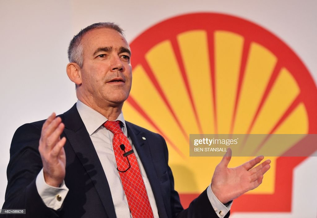 Simon Henry Chief Financial Officer of Royal Dutch Shell addresses a press conference in central London on January 29 to release its fourth quarter...