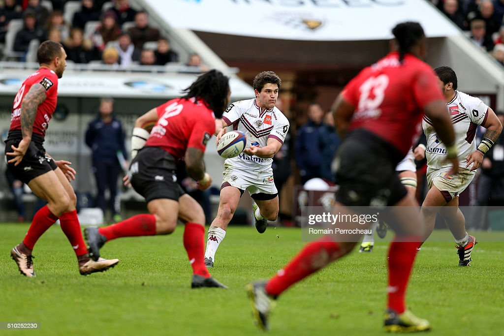 Simon Hickey of Union Bordeaux Begles in action during the Top 14 rugby match between Union Bordeaux Begles and RC Toulon at Stade Matmut Atlantique on February 14, 2016 in Bordeaux, France.