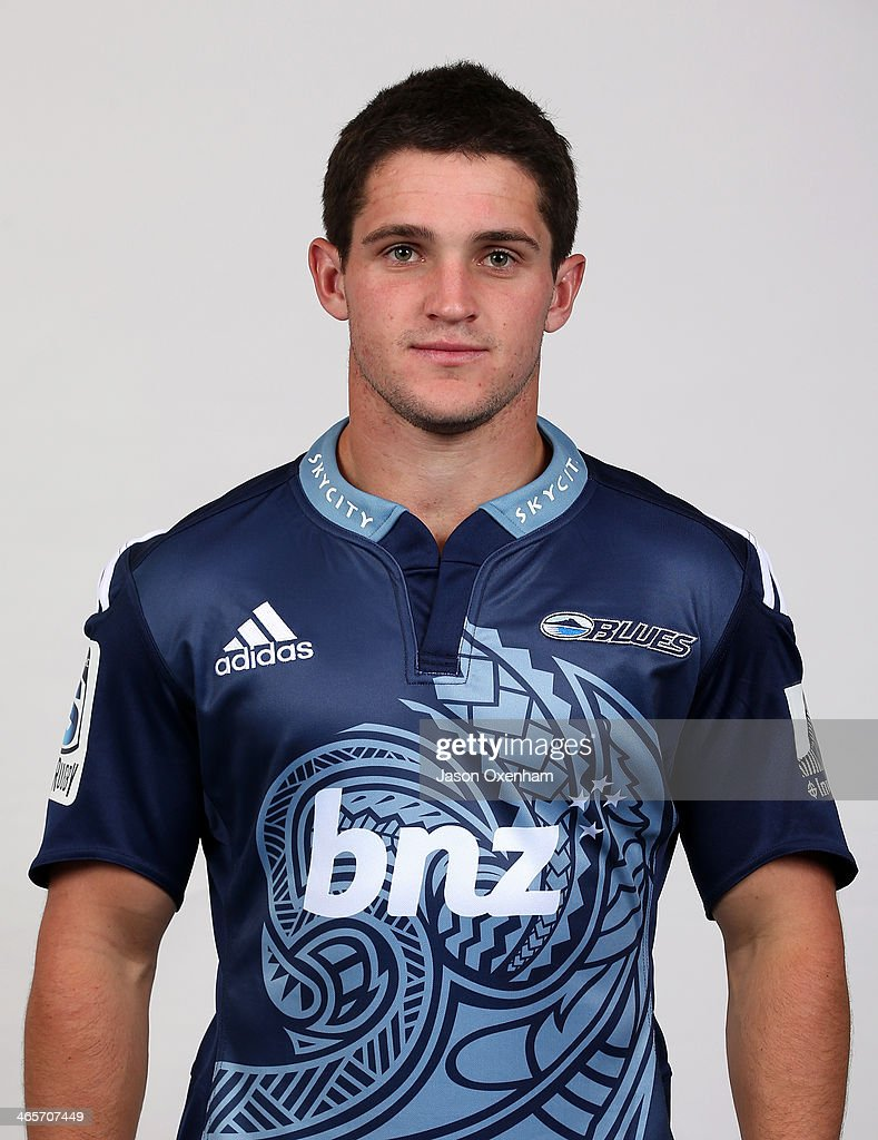 Simon Hickey poses during a Blues Super Rugby headshots session on January 29, 2014 in Auckland, New Zealand.