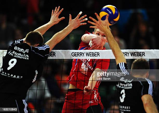 Simon Hirsch of Haching hits the ball during the DVV Cup Final match between Moerser SC and Generali Haching at Gerry Weber Stadion on March 3 2013...