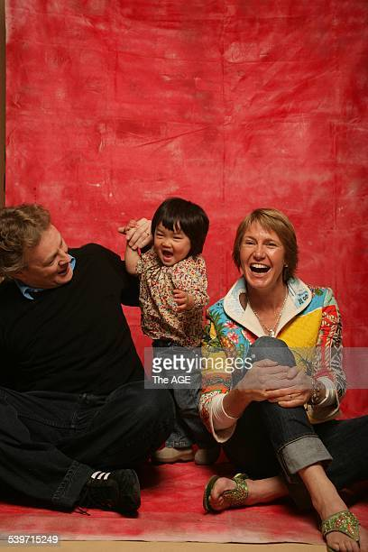 Simon Horan and Beth Ashwood with their daughter Lucy Ling Min 7 October 2005 The AGE Pictue by SIMON SCHLUTER