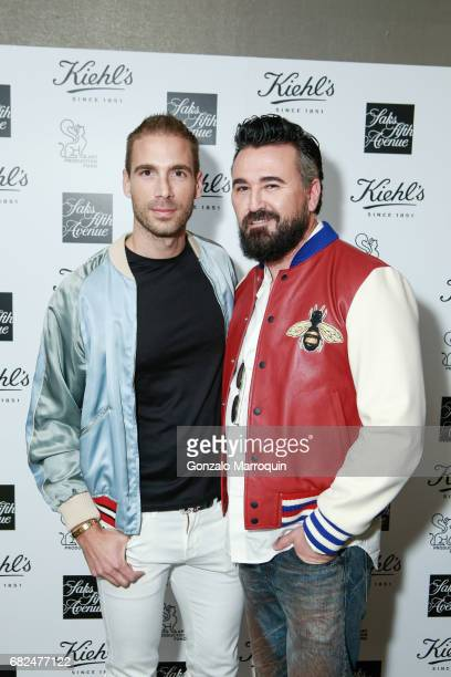 Simon Huck and Chris Salgardo attend the Kiehl's Since 1851 Art Production Fund and Saks Fifth Avenue Celebrate the Unveiling of 'Seated Ballerina'...
