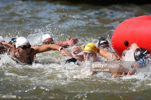 Simon Huitenga of Australia vies for position during the Men's 10km Open Water Swimming Final on day three of the 16th FINA World Championships at...