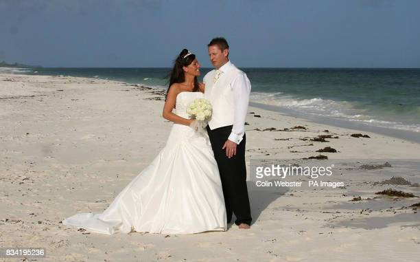 Simon James and Nicola Hallahan after their wedding at the Turtle Bay Beach Club in Kenya