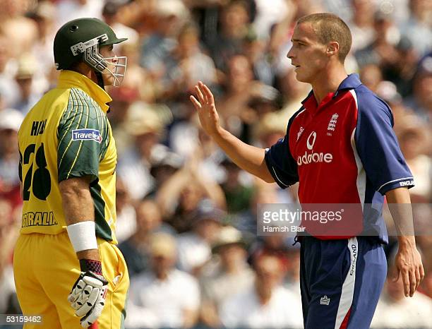 Simon Jones of England apologises to Matthew Hayden of Australia after hitting him with the ball during the NatWest Series One Day International...