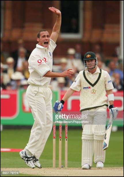 KINGDOM Simon Jones of England appeals and gets the wicket of Michael Clarke of Australia lbw during Day One of the 1st Ashes Test Match between...
