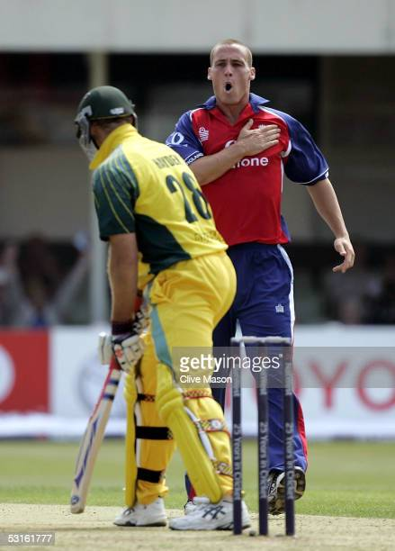 Simon Jones of England celebrates dismissing Matthew Hayden of Australia during the NatWest Series One Day International between England and...