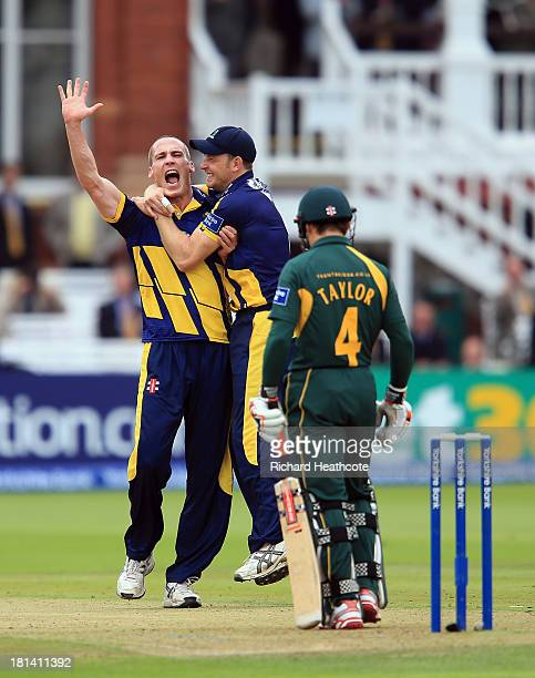 Simon Jones of Glamorgan celebrates taking the wicket of James Taylor of Notts during the Yorkshire Bank 40 Final match between Glamorgan and...