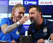 Simon Kajer of Fenerbahce makes Head coach of Fenerbahce Vitor Pereira eat birthday cake as they attend a press conference prior to UEFA Champions...