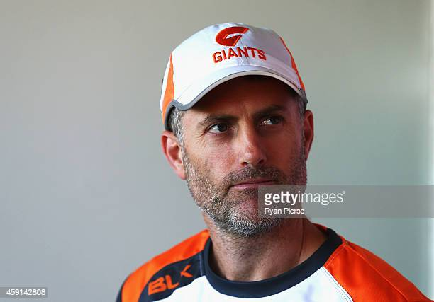 Simon Katich Giants Football Operations Manager speaks during a Greater Western Sydney Giants AFL press conference at Sydney Olympic Park Sports...