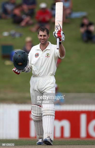 Simon Katich of Australia celebrates his century during day three of the Second Test Match between New Zealand and Australia at Seddon Park on March...
