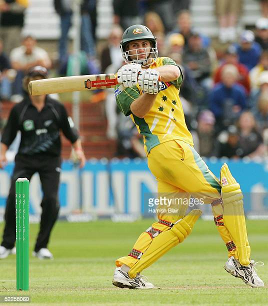 Simon Katich of Australia in action during the 4th One Day International between New Zealand and Australia played at the Basin Reserve on March 1...