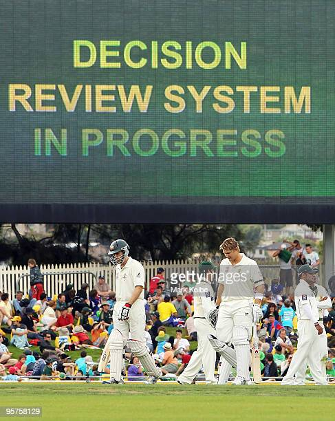 Simon Katich of Australia waits for the decision review system to be used for an lbw decision against him during day one of the Third Test match...