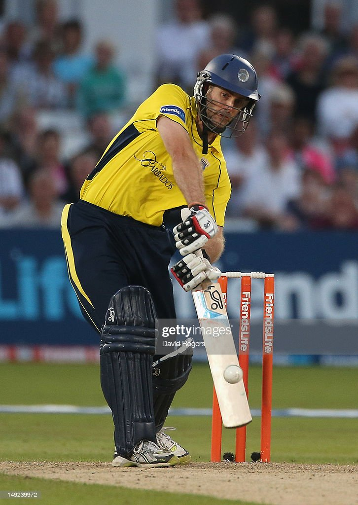 Simon Katich of Hampshire hits a four during the Friends Life T20 match between Nottinghamshire and Hampshire at Trent Bridge on July 25, 2012 in Nottingham, England.