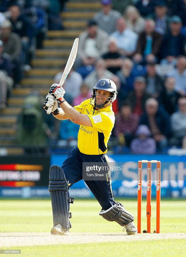 Simon Katich of Hampshire hits out during the Friends Life T20 Semi Final match between Hampshire and Somerset at SWALEC Stadium on August 25, 2012 in Cardiff, Wales.