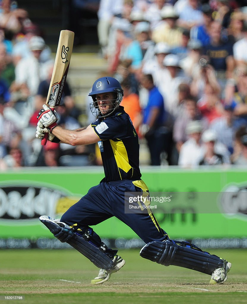 Simon Katich of Hampshire plays a shot during the Clydesdale Bank Pro40 Final between Hampshire and Warwickshire at Lord's Cricket Ground on September 15, 2012 in London, England.