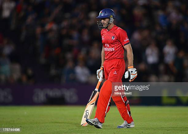 Simon Katich of Lancashire walks straight back to the dugout bowled first ball by Danny Briggs of Hampshire during the Friends Life T20 Quarter Final...
