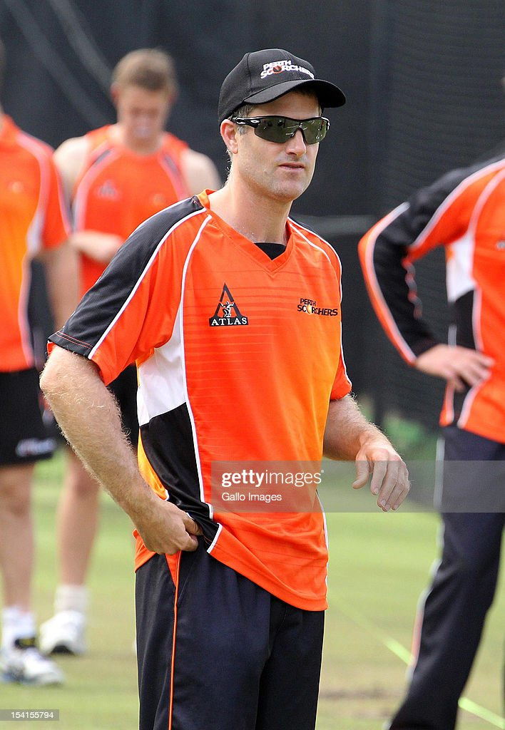 Simon Katich of Perth Scorchers attends a training session during the Champions League Twenty20 at Sahara Park Kingsmead on October 15, 2012 in Durban, South Africa.