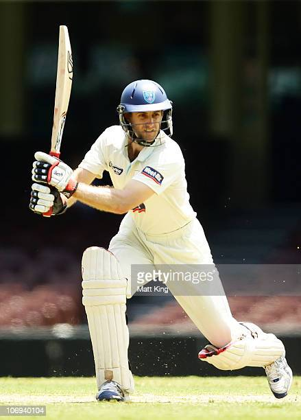 Simon Katich of the Blues plays an offside stroke during day two of the Sheffield Shield match between the New South Wales Blues and the Tasmanian...