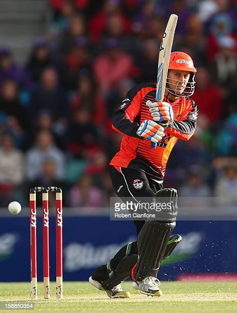 Simon Katich of the Scorchers bats during the Big Bash League match between the Hobart Hurricanes and the Perth Scorchers at Blundstone Arena on...