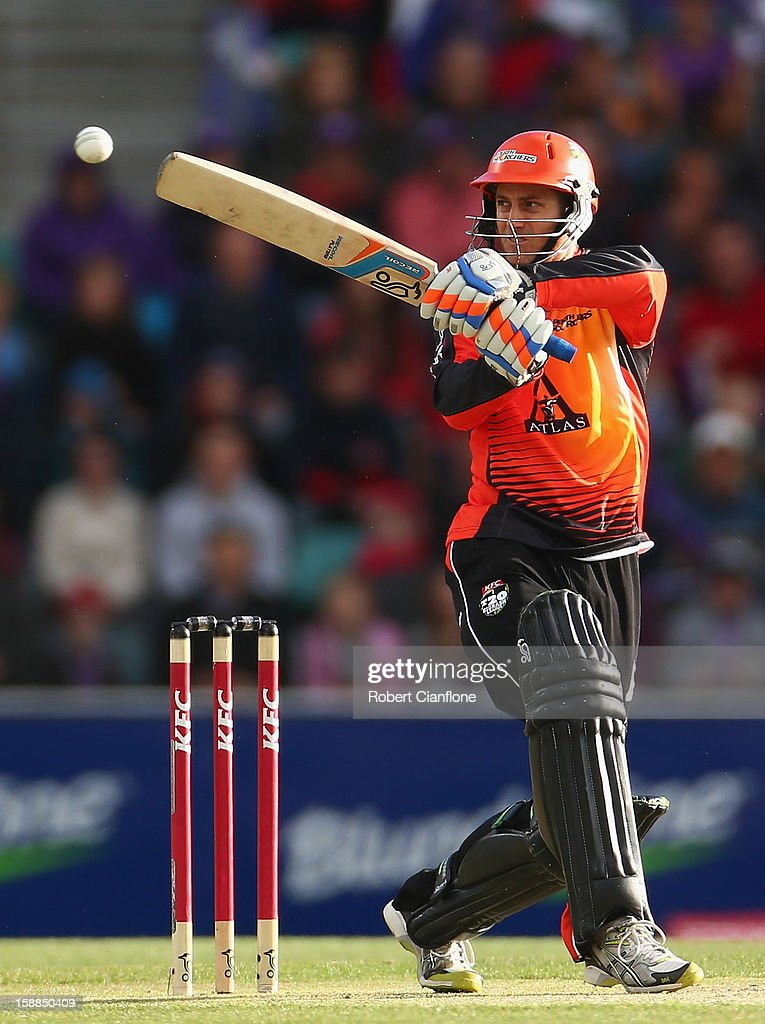 <a gi-track='captionPersonalityLinkClicked' href=/galleries/search?phrase=Simon+Katich&family=editorial&specificpeople=176577 ng-click='$event.stopPropagation()'>Simon Katich</a> of the Scorchers bats during the Big Bash League match between the Hobart Hurricanes and the Perth Scorchers at Blundstone Arena on January 1, 2013 in Hobart, Australia.