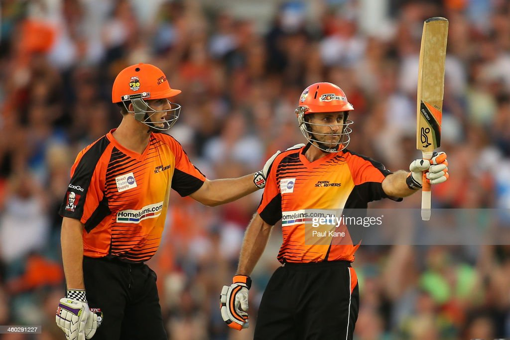 <a gi-track='captionPersonalityLinkClicked' href=/galleries/search?phrase=Simon+Katich&family=editorial&specificpeople=176577 ng-click='$event.stopPropagation()'>Simon Katich</a> of the Scorchers celebrates his half century with Mitch Marsh during the Big Bash League match between the Perth Scorchers and Sydney Thunder at WACA on January 3, 2014 in Perth, Australia.