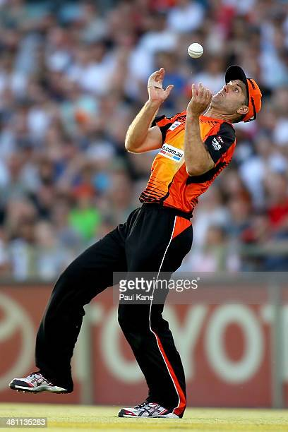 Simon Katich of the Scorchers juggles a catch to dismiss Tim Paine of the Hurricanes during the Big Bash League match between the Perth Scorchers and...