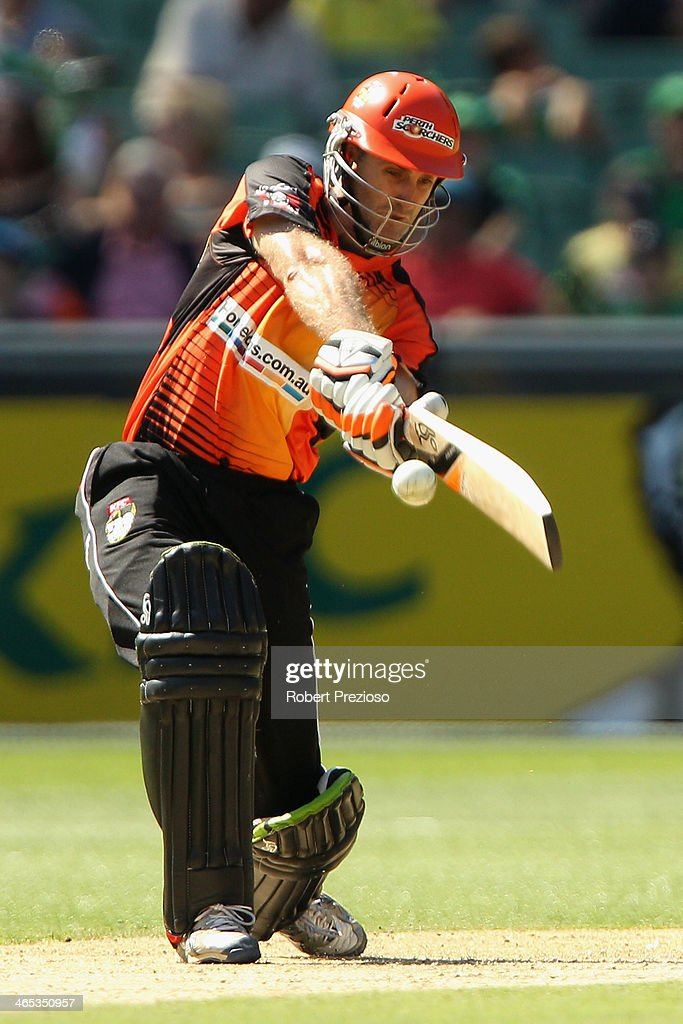 Simon Katich of the Scorchers plays a shot during the Big Bash League match between the Melbourne Stars and the Perth Scorchers at Melbourne Cricket Ground on January 27, 2014 in Melbourne, Australia.