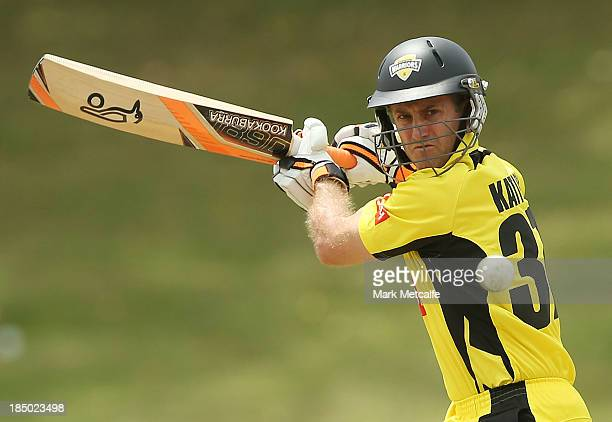 Simon Katich of the Warriors bats during the Ryobi Cup match between the South Australian Redbacks and the Western Australia Warriors at Drummoyne...
