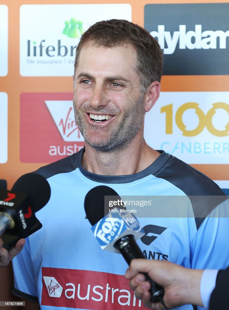 <a gi-track='captionPersonalityLinkClicked' href=/galleries/search?phrase=Simon+Katich&family=editorial&specificpeople=176577 ng-click='$event.stopPropagation()'>Simon Katich</a> speaks to the media during a Greater Western Sydney Giants AFL media opportunity at Sydney Olympic Park on November 13, 2013 in Sydney, Australia.